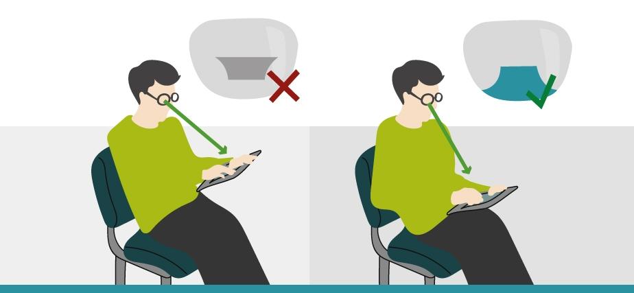Illustration de la bonne position pour l'utilisation de la zone de vision rapprochée